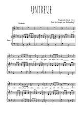 Téléchargez la partition de Untreue en PDF pour Chant et piano