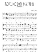 Téléchargez l'arrangement de la partition de bretagne-gouel-bro-gozh-ma-zadou en PDF à deux voix