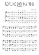Téléchargez l'arrangement de la partition de bretagne-gouel-bro-gozh-ma-zadou en PDF à trois voix
