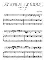 Téléchargez la partition de Dans le hall du roi des montagnes en PDF pour Mélodie et piano