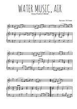 Téléchargez la partition de Water music, Air en PDF pour Mélodie et piano