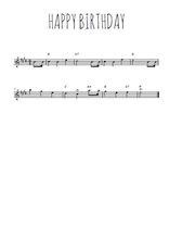 Téléchargez la partition pour saxophone en Mib de la musique happy-birthday en PDF