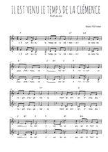 Téléchargez l'arrangement de la partition de Traditionnel-Il-est-venu-le-temps-de-la-clemence en PDF à deux voix