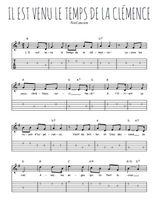 Téléchargez la tablature de la musique Traditionnel-Il-est-venu-le-temps-de-la-clemence en PDF