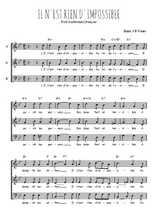 Téléchargez l'arrangement de la partition de Traditionnel-Il-n-est-rien-d-impossible en PDF à trois voix