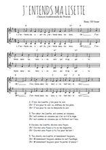 Téléchargez l'arrangement de la partition de Traditionnel-J-entends-ma-Lisette en PDF à deux voix
