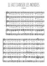 Téléchargez la partition de Il fait danser les mondes en PDF pour 4 voix SATB et piano