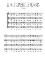 Téléchargez l'arrangement de la partition de Johann-Sebastian-Bach-Il-fait-danser-les-mondes en PDF à quatre voix