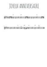 Téléchargez la partition en Sib de la musique joyeux-anniversaire en PDF