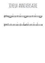 Téléchargez la partition pour saxophone en Mib de la musique joyeux-anniversaire en PDF