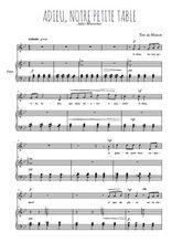 Téléchargez la partition de Adieu, notre petite table en PDF pour Chant et piano