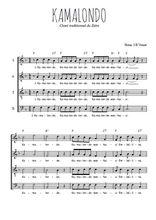 Téléchargez l'arrangement de la partition de Traditionnel-Kamalondo en PDF à quatre voix