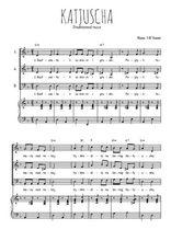 Téléchargez la partition de Katjuscha en PDF pour 3 voix SAB et piano
