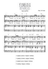 Téléchargez la partition de Kumbaya en français en PDF pour 2 voix égales et piano
