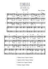 Téléchargez la partition de Kumbaya en français en PDF pour 3 voix SAB et piano