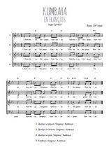 Téléchargez l'arrangement de la partition de spiritual-gospel-kumbaya-en-francais en PDF à quatre voix