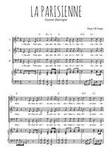 Téléchargez la partition de La Parisienne en PDF pour 3 voix SAB et piano