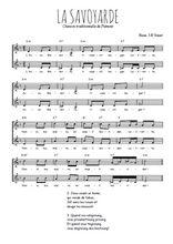Téléchargez l'arrangement de la partition de Traditionnel-La-Savoyarde en PDF à deux voix