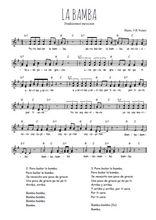 Téléchargez l'arrangement de la partition de Traditionnel-La-Bamba en PDF à deux voix