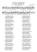 Téléchargez l'arrangement de la partition de Traditionnel-Le-roi-Renaud en PDF à deux voix