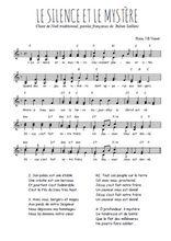 Téléchargez l'arrangement de la partition de noel-le-silence-et-le-mystere en PDF à deux voix
