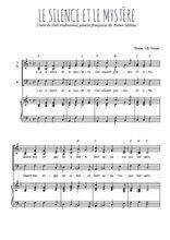 Téléchargez la partition de Le silence et le mystère en PDF pour 3 voix SAB et piano