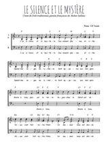 Téléchargez l'arrangement de la partition de noel-le-silence-et-le-mystere en PDF à trois voix