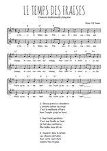 Téléchargez l'arrangement de la partition de le-temps-des-fraises en PDF à deux voix