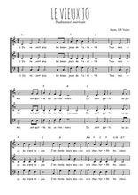 Téléchargez l'arrangement de la partition de Traditionnel-Le-vieux-Jo en PDF à trois voix