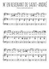 Téléchargez la partition de M'en revenant de Saint-André en PDF pour Chant et piano