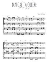 Téléchargez la partition de Malgré ta colère en PDF pour 2 voix égales et piano
