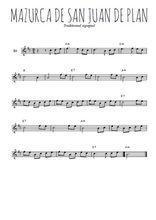 Téléchargez la partition en Sib de la musique danse-espagnole-mazurca-de-san-juan-de-plan en PDF