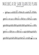 Téléchargez la partition pour saxophone en Mib de la musique danse-espagnole-mazurca-de-san-juan-de-plan en PDF