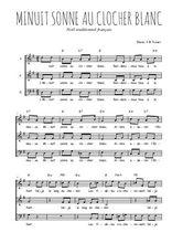 Téléchargez l'arrangement de la partition de Traditionnel-Minuit-sonne-au-clocher-blanc en PDF à trois voix