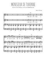 Téléchargez la partition de Monsieur de Turenne en PDF pour 2 voix égales et piano