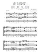 Téléchargez l'arrangement de la partition de W.A.-Mozart-Nocturne-N1-Luci-care-luci-belle en PDF à trois voix