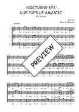 Téléchargez l'arrangement de la partition de W.A.-Mozart-Nocturne-N3-Due-pupille-amabili en PDF à trois voix