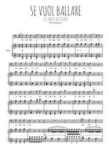 Téléchargez la partition de Se vuol ballare en PDF pour Chant et piano