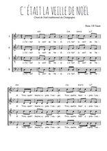 Téléchargez l'arrangement de la partition de Traditionnel-C-etait-la-veille-de-Noel en PDF à quatre voix