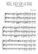 Téléchargez l'arrangement de la partition de Traditionnel-Noel-paix-sur-la-terre en PDF à trois voix