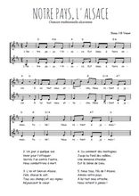 Téléchargez l'arrangement de la partition de Traditionnel-Notre-pays-l-Alsace en PDF à deux voix