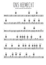Téléchargez la partition de hymne-national-luxembourgeois-ons-heemecht en clef de fa
