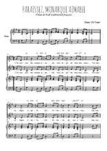 Téléchargez la partition de Paraissez, monarque aimable en PDF pour 2 voix égales et piano