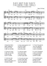 Téléchargez l'arrangement de la partition de Traditionnel-Passant-par-Paris en PDF à deux voix