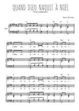 Téléchargez la partition de Quand Dieu naquit à Noël en PDF pour 2 voix égales et piano