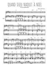 Téléchargez la partition de Quand Dieu naquit à Noël en PDF pour Chant et piano