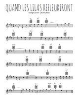 Téléchargez la partition pour saxophone en Mib de la musique quand-les-lilas-refleuriront en PDF
