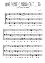 Téléchargez l'arrangement de la partition de noel-que-bonito-nino-chiquito en PDF à trois voix