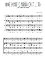 Téléchargez l'arrangement de la partition de noel-que-bonito-nino-chiquito en PDF à quatre voix