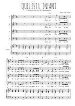 Téléchargez la partition de Quel est l'enfant en PDF pour 4 voix SATB et piano